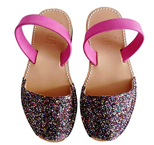 Auténticas Avarcas menorquínas, niñas, Abarcas, Albarcas, Sandalias (27, Glitter Multicolor)