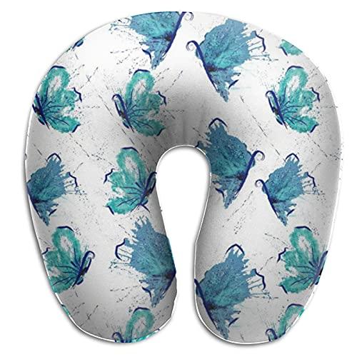 Almohada de viaje en forma de U para dormir acuarela abstracta mariposas cuello azul almohada cervical para dolor de cuello