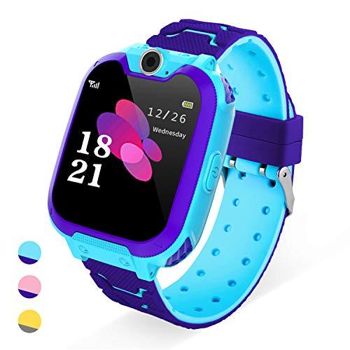 YENISEY Reloj Inteligente para Niños -Smart Watch (1GB Tarjeta SD incluida) con Reproductor de Música con Llamada Cámara SOS 7 Juegos Reloj Digital Completo de 4 a 12 años Regalo de Cumpleaños (Azul)