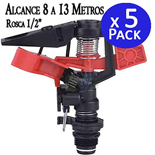 Suinga Pack 5 x ASPERSOR agricola Angulo Ajustable. Alcance 8-13 MTS. Rosca Macho 1/2'. Caudal 654 a 1212 l/h. Diámetro Cobertura 25 Metros
