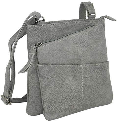 Jennifer Jones Bolso de mujer para mujer, bolso de mano, bandolera, bolso pequeño, color gris/antracita (3106)