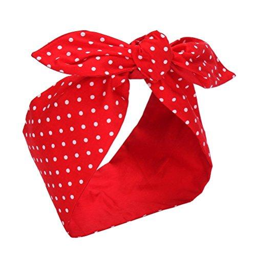 Sea Team Bande de cheveux en coton de haute qualité avec le point rouge et blanc, Bande de cheveux avec le nœud de nombreux styles