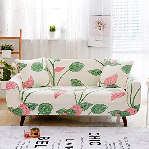 Protector de sofá con Estampado Fundas de Sofá Elasticas de 1 Plazas Poliéster Suave con Funda elástica Antideslizante Protector Cubierta de MueblesHojas Verdes Rosadas