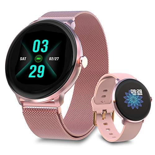 【Versión Mejorada】 Bebinca Smartwatch Reloj Inteligente,Monitor de frecuencia cardíaca automático7/24,Clima, oxígeno en Sangre,DIY watchface,Fitness Tracker IP68 Waterproof, Batería Potente(Oro Rosa)