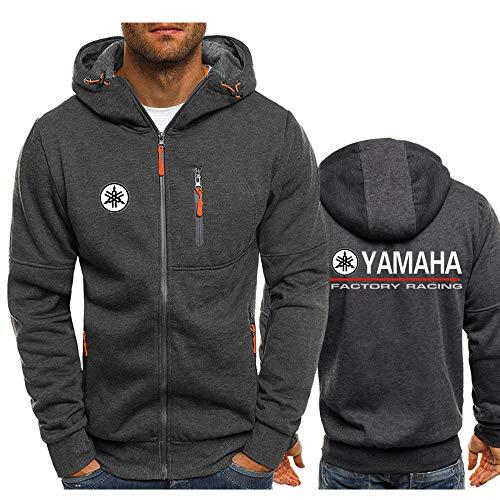 SKJYAYA Chaqueta Capucha Zipper con Cordón Delgado por Ya.M_Ah.A-S Impreso Clásico Casual Sweatshirt Blusa/Dark Grey1 / L