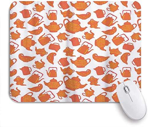 Gaming Mouse Pad rutschfeste Gummibasis, mehrfarbige altmodische klassische Ornament-Teekannen Keramik antikes Teatime-Getränk, für Computer Laptop Schreibtisch