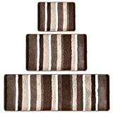 mDesign Soft Microfiber Polyester Spa Rugs for Bathroom Vanity, Tub/Shower - Water Absorbent, Machine Washable - Plush Non-Slip Rectangular Accent Rug Mat - Striped Design, Set of 3 Sizes - Brown