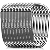 Gimars 3' 10 Pcs Improved Silver Durable Spring-Loaded Gate Aluminum D Ring Carabiners Clips Hook for Home, Rv, Camping, Fishing, Hiking, Traveling