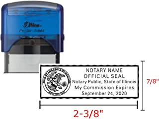 Shiny Blue Notary Stamp | Self Inking, Printer S-844, 2.3x0.81 Inch Prints | Illinois