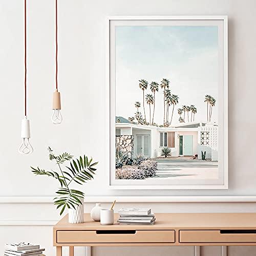 Yegnalo Palmera de Coco Arquitectura Paisaje Pared Arte Lienzo Pintura Carteles nórdicos e Impresiones Sala de Estar decoración del hogar Cuadro de Pared