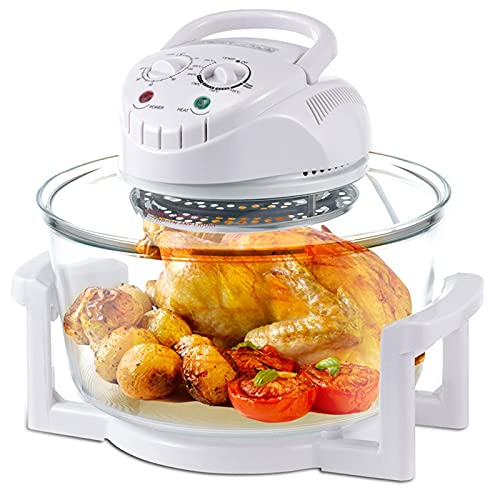 12L Freidora de aire halógeno, horno sin aceite, máquina de papas fritas multifunción, saludable y baja en grasa, calentada uniformemente, fácil de limpiar, para asar, pollo entero, pizza, pastel