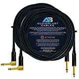 Audioblast - 2 Units - 25 Foot - HQ-1 - Ultra Flexible - Dual Shielded (100%) - Guitar Instrument Effects Pedal Patch Cable w/Eminence Straight & Angled Gold ¼ inch (6.35mm) TS Plugs & Double Boots
