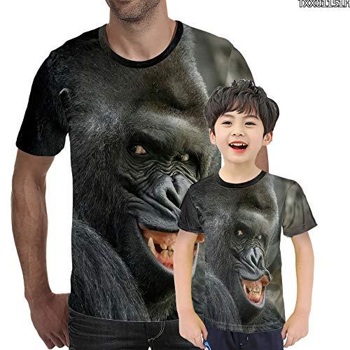 YAMAO Camisetas Cuello Redondo, Manga Corta, Camiseta de expresión Divertida de orangután 3D Camiseta Estampada con Cuello Redondo Animal Estampado