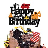 Construction Birthday Cake Toppers Truck Dump Excavator Forklift Bulldozer Road Roller Engineering Themed for Kids Boy Girl Happy Birthday Party Supplies Sparkle Decorations DOUBLE SIDED