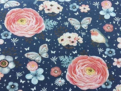 1m Baumwolljersey – Rotkehlchen Blumen Schmetterlinge Vögel Herzen auf Jeansblau – rosa pink hellblau – Damen- und Kinderstoff für Mädchen – Meterware – Ökotex – Digital