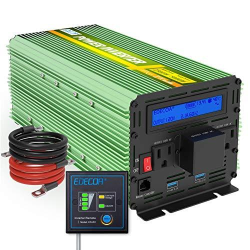 EDECOA Pure Sine Wave Power Inverter 2500W Peak 5000W DC