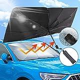 車用パラソル 車用サンシェード傘 ガラスハンマー付き 折りたたみ傘様式 日よけ傘 フロントガラス uv 紫外線カット 遮光 遮熱 車中泊 仮眠 プライバシー保護 暑さ対策 簡単取付 収納ポーチ付き 145*79cm
