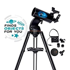 102 millimeter Maksutov Cassegrain with fully coated glass optics Control your telescope via integrated WiFi using the free Celestron SkyPortal app for iPhone, iPad, and Android devices Observe in no time with a quick and easy, no tool setup Accessor...