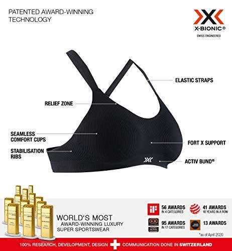 X-Bionic Damen Energizer 4.0 sina Bra Sport BH Bustier Bralette Ohne Bügel Fitness Training Lauf Joggen Yoga, Opal Black, S