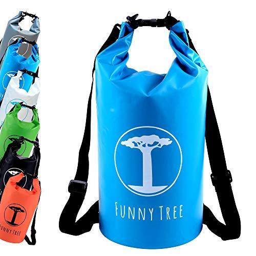 Funny Tree® Drybag. (20L blau) Wasserdichter (IPx6), verbesserter DryBag, schwimmfähig. Inklusive wasserdichter Handy-Hülle | Stand Up Paddle | Wassersport | Ski-Fahren | Snow-Boarden | Tauchen