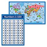 2 Pack - World Map Poster for Kids [Illustrated] + Numbers 1-100 Math Chart (Laminated, 18' x 29')