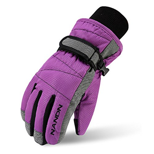 Magarrow Winter Warm Windproof Outdoor Sports Gloves For Children (Purple, Medium (Fit kids 8-10 years old))