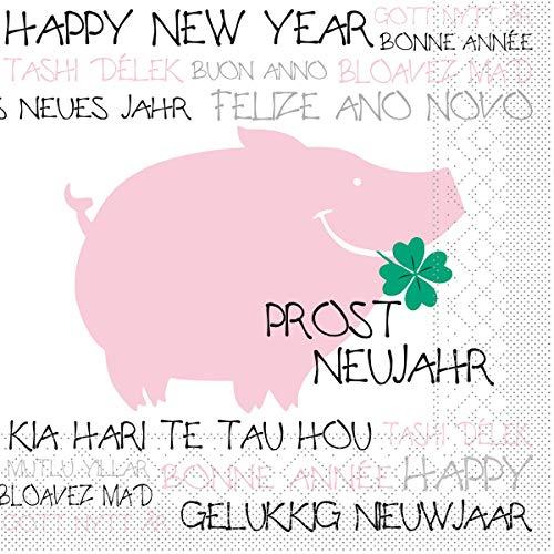 Sovie HOME Serviette Prost Neujahr | Silvester Happy New Year | aus Tissue 3-lagig | 33 x 33 cm, 20 Stück