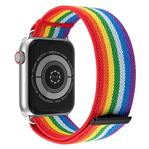 JIELIELE Elastic Apple Watch Bands 38mm 40mm 42mm 44mm for Women, Nylon Braided Solo Loop Apple Watch Bands, Iwatch Bands Compatible with Apple Watch Series SE 6 5 4 3 2 1 (M-38/40 Rainbow)