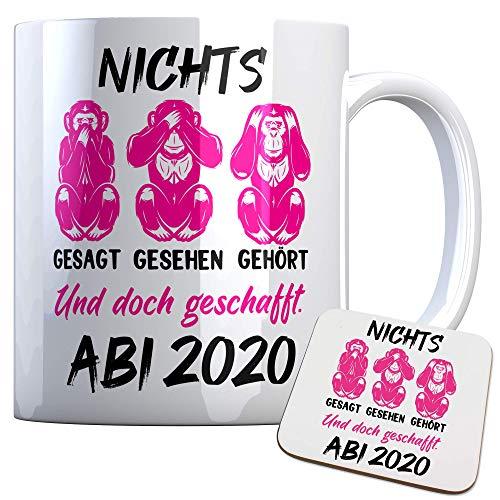 Tassenbude Tasse Abi Nichts gesehen, gehört, gesagt und doch geschafft! Abitur 2020 - Affen - Geschenk, Geschenkidee zum Abitur Abschluss inkl. Untersetzer Geschenkset