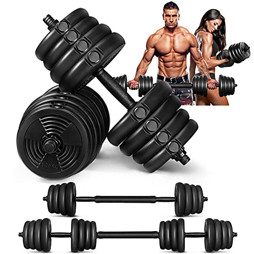 MOVTOTOP Adjustable Dumbbells Set, 5/15/25/35/66lbs, Free Weight Dumbbells Sets with Connecting Rod and Non-Slip Handle, Barbell Weight Set for Men & Women Home Gym Exercise & Fitness
