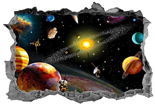 3D Wall Sticker, Removable Wall Mural Decals, Wall Art Decor for Livingroom Bedroom Nursery, Solar System, Space Galaxy, Kids, Planets, Space - 42' at the Longest End