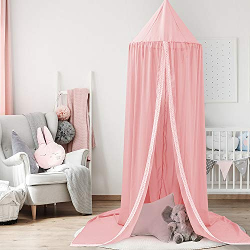 HLSUSAN Baby Children Bed Canopy, Round Dome Cotton Mosquito Net Reading Room Decorations Nursery Room Decorations,Pink