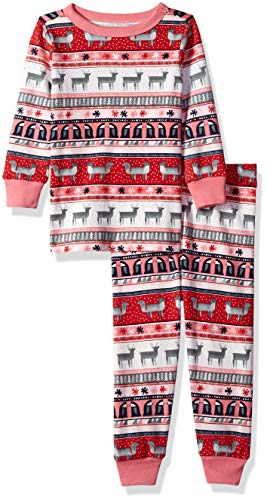 Gymboree Baby Girls 2-Piece Tight Fit Long Sleeve Long Bottoms Pajama Set, Pink Reindeer fair isle, 2T