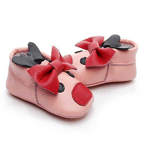 HONGTEYA Baby Girls Boys Christmas Reindeer Genuine Leather Shoes Soft Sole Bow Infant Crib First Walker Moccasins (6-12 Months/US 6/5.12'' / See Size Chart, Bow-Light Pink)