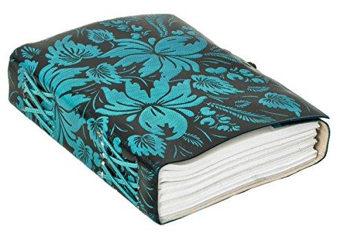 Buch Tagebuch Notizbuch DIN B6 Blau Leder