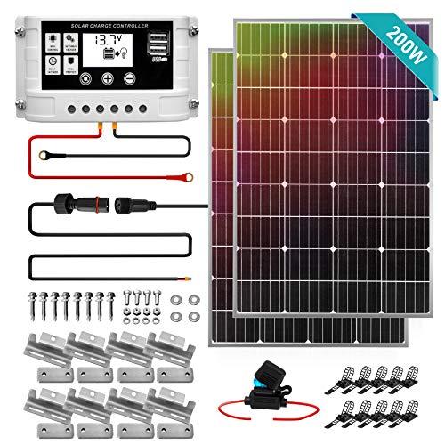200W Solar Panel Starter Kit - 12v Monocrystalline Portable Mono Solar Panel Starter Kit w/ 3 ft 11AWG Cable Set, 30A PWM Controller w/LCD - Van Campers, Car Roof, Boat- SereneLife SLSPSKT200 (2 Pcs)