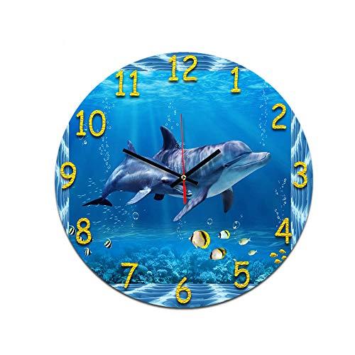 LUOYLYM Coral Delphin Wohnzimmer Digitale Wanduhr Acryl Stumm Nach Hause Kreative Mode Uhr Grenzenlosen Wecker P190430-110 28CM