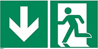 Emergency exit Sticker, Photoluminescent 16 x 8 inches Rescue Sign, ISO 7010, Pack of 1