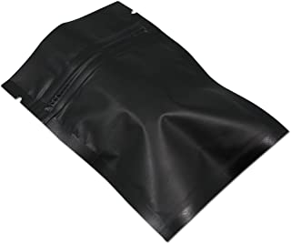 100 Pcs Matte Aluminum Foil Zip Lock Bulk Food Storage Bag Mylar Foil Heat Sealable Safety Food Saver Smell Proof Pouch Coffee Electronic Cosmetic Supply Storage (8x12cm (3.1x4.7 inch), Black)