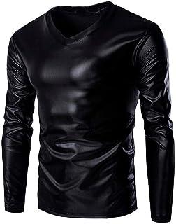 Men's Metallic Glossy Wet Look Long Sleeve T Shirt Feast Clothing Top Slim Fit V Neck Blouse 2019 Men's Clothing