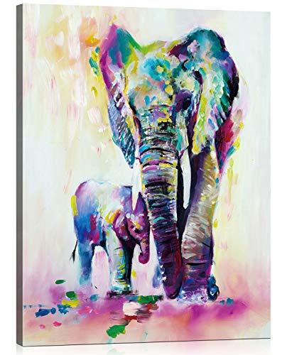 BOSHUN Pintar por Numeros para Adultos Niños Pintura por Números con Pinceles y Pinturas Decoraciones para el Hogar Familia Elefante Padre e Hijo (16*20 Pulgadas, con Marco de Madera)