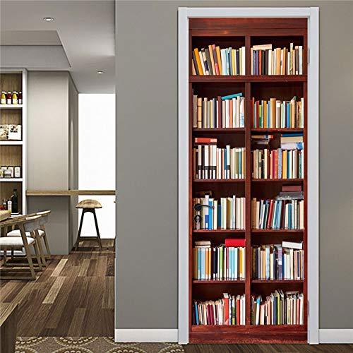 Romote Modern Library - Papel Pintado para Puerta Adhesivo de Vinilo Resistente al Agua, extraíble, para estantería de Libros