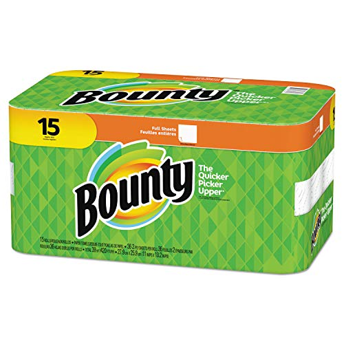 """Bounty 2-Ply Paper Towels, 11"""" x 10 1/4"""", White, Pack of 15 Rolls"""