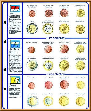Pagine illustrate COLLEZIONE EURO: set di monete Monaco/San Marino/Vaticano