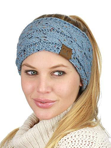 C.C Soft Stretch Winter Warm Cable Knit Fuzzy Lined Ear Warmer Headband, Confetti Denim