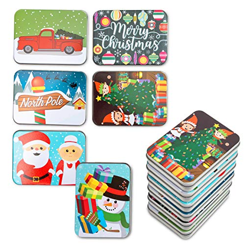 Metal Gift Card Tin Boxes and Lids for Christmas Presents (4.5 x 3.3 In, 6 Pack)