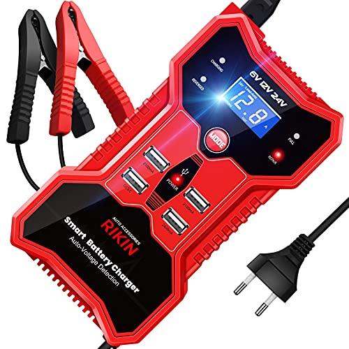 RIKIN Caricabatterie Auto Moto 6V/12V/24V 10A Caricabatteria Mantenitore Moto Multi Protezioni con Schermo LCD Intelligente Automatico Caricabatteria con 4 Porte USB per Auto Moto Barca