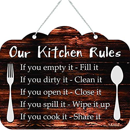 Kreepo Our Kitchen Rules Wooden Wall Hanging Door For Decorative Home Kitchen 8inchx10inch Amazon In Home Kitchen