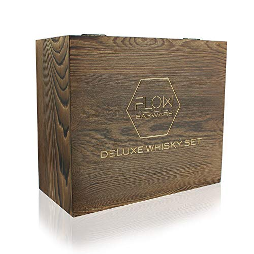 Flow Barware Deluxe Whiskygläser und Whiskysteine, in Geschenkbox aus Holz, italienisches Vintage-Kristallglas für Scotch, Bourbon, Gin & Tonic sowie Cocktails - 5