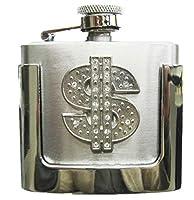 JEAN'S FRIEND Rhinestone US Dollar Sign Two Ounce Stainless Steel Flask Belt Buckle ベルトのバックル
